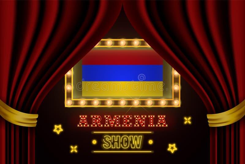 Placa para o desempenho, cinema do tempo da mostra, entretenimento, roleta, pôquer do evento do país de Armênia Vintage de brilho ilustração royalty free