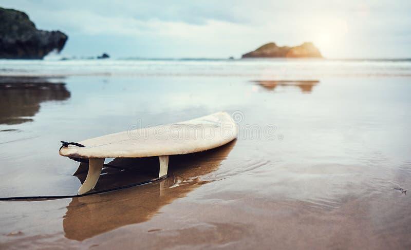 Placa para surfar na praia abandonada do oceano fotos de stock