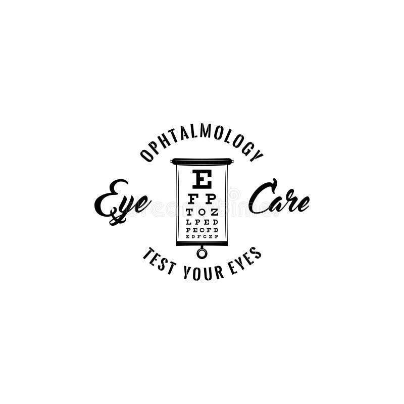 Placa para verificar a visão Eye o cuidado, teste seus olhos e inscrição da oftalmologia O arquivo ilustração stock