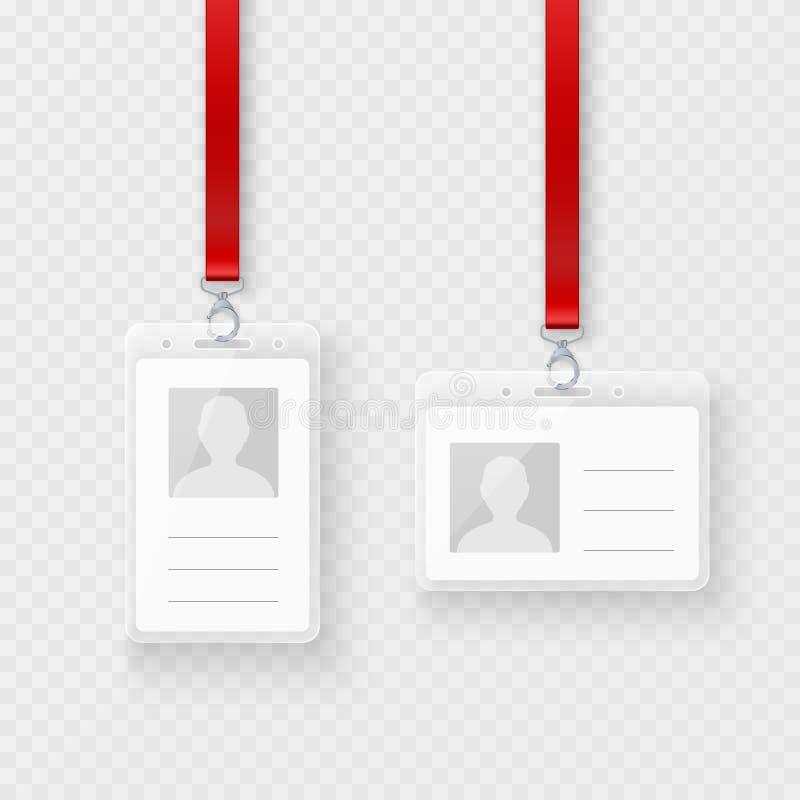 Placa pessoal da identificação, grupo de cartões plástico da identificação com fecho e correia Projeto de cartão plástico vazio d ilustração stock
