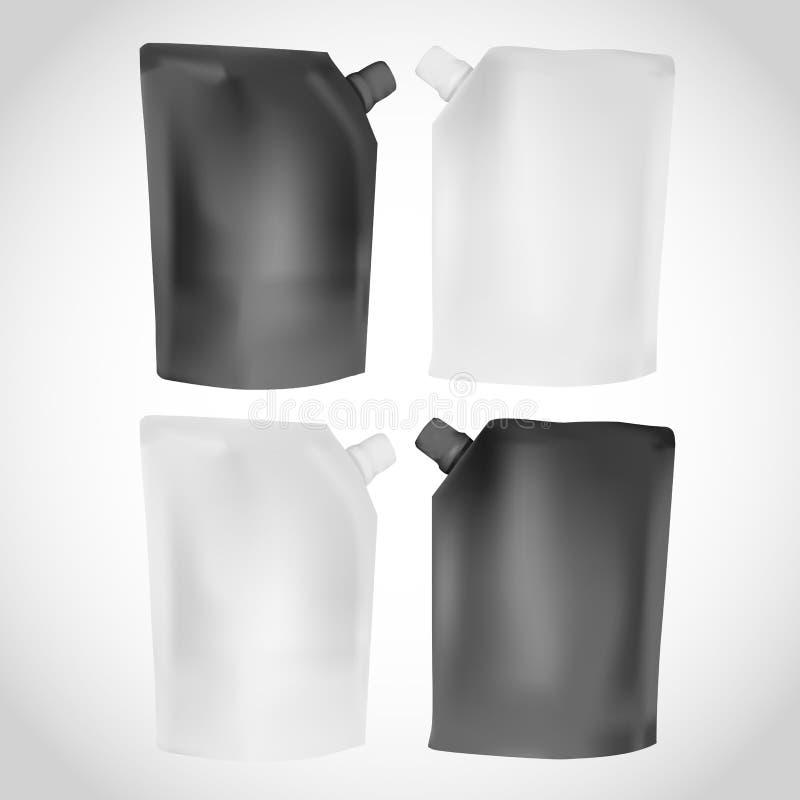 A placa plástica branca e preta jorrou o molde do malote para o puré, ilustração do vetor