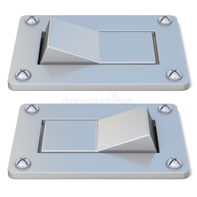 Placa, prata, botão de interruptor de alimentação SOBRE FORA Front View 3d ilustração stock