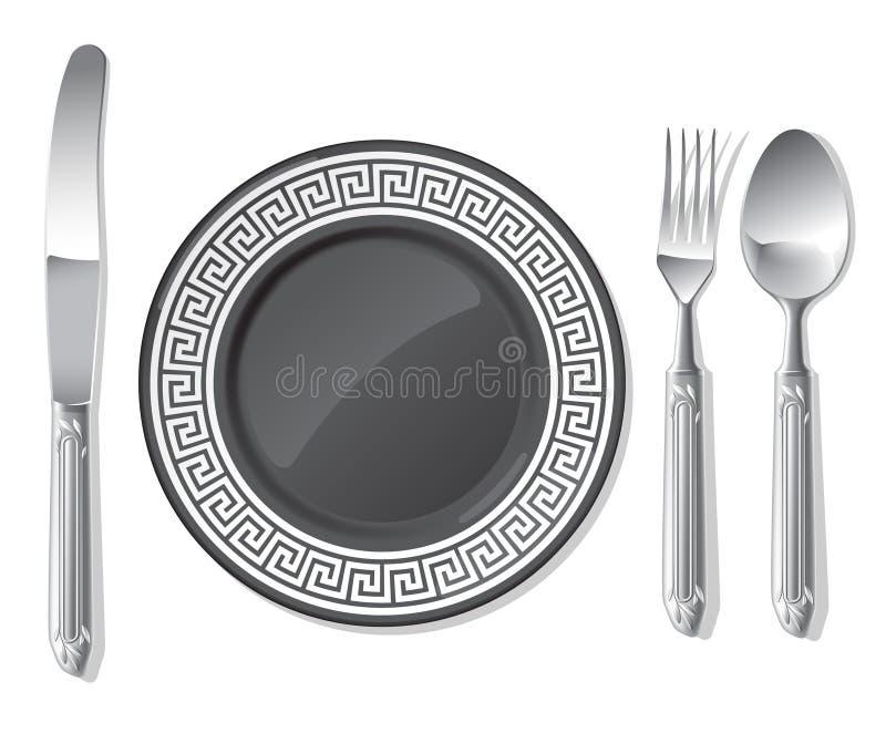 Placa preta, colher de prata, forquilha, faca ilustração stock