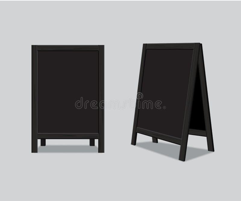 Placa preta de madeira do anúncio do menu do vetor ilustração royalty free