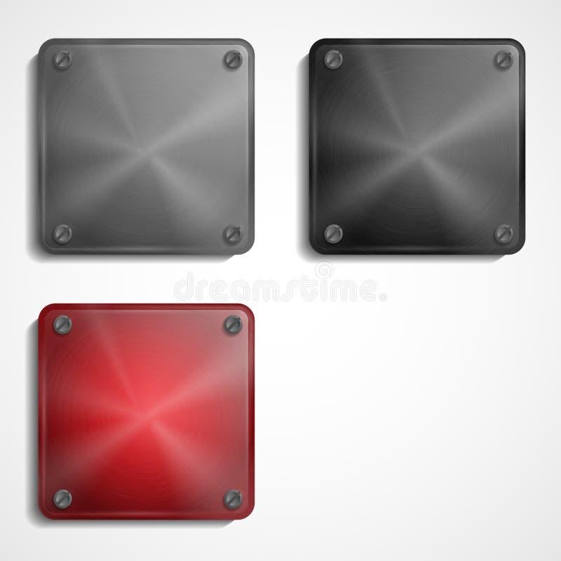 Placa quadrada de aço brilhante com parafusos. ilustração royalty free