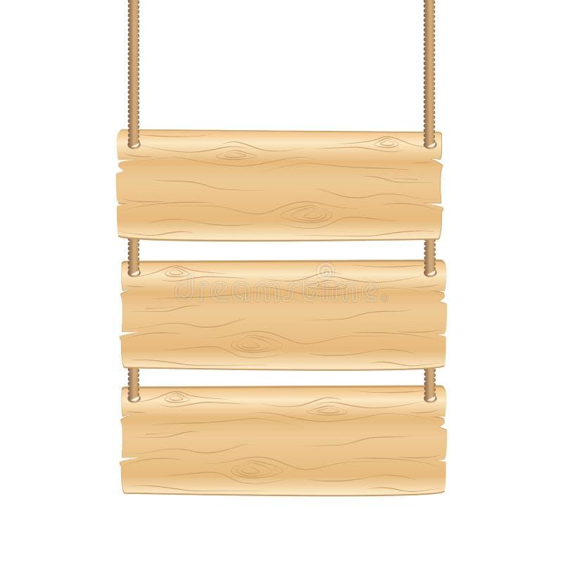 Placa que pendura o sinal de madeira no fundo branco ilustração stock