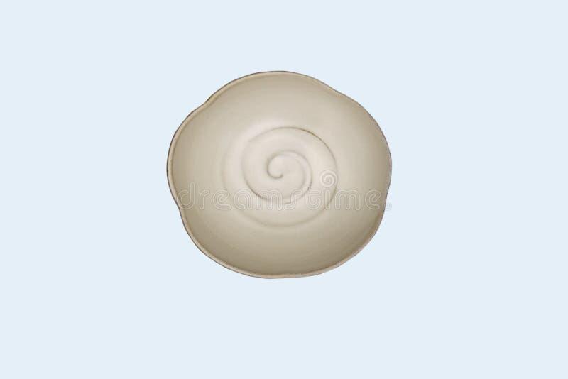 Placa redonda de cerámica blanca vista-vacía superior del plato aislada en blanco fotos de archivo