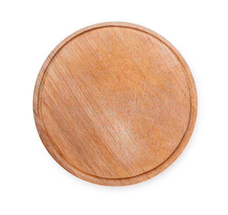 Placa redonda de madeira para a pizza isolada no branco foto de stock royalty free