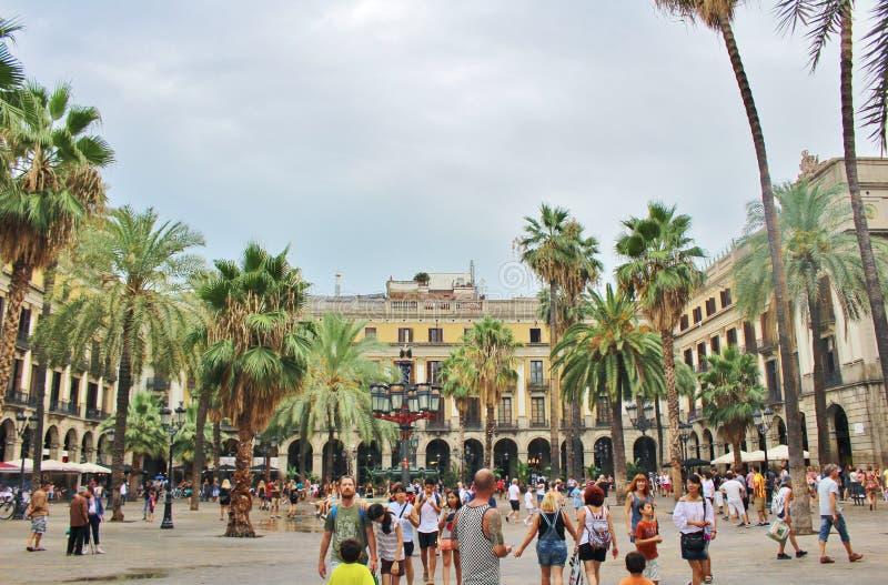 Placa Reial, Barcelona fotografia de stock