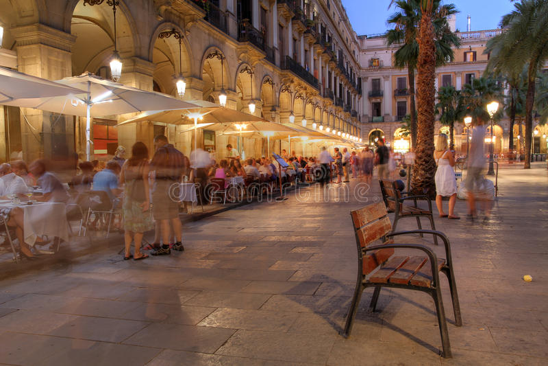 Placa Reial, Barcelona, España fotos de archivo