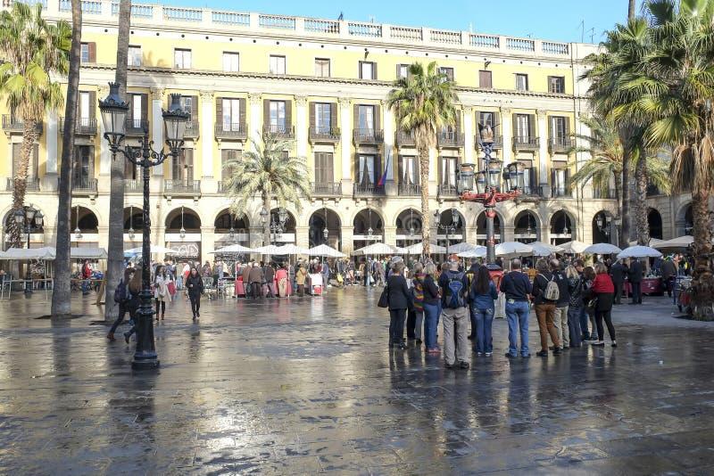 Placa Reial Ramblas Barcelona zdjęcia stock