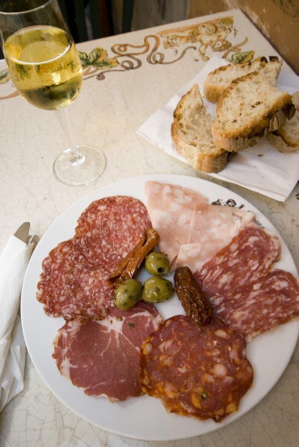 Placa Roma do presunto e do salami foto de stock
