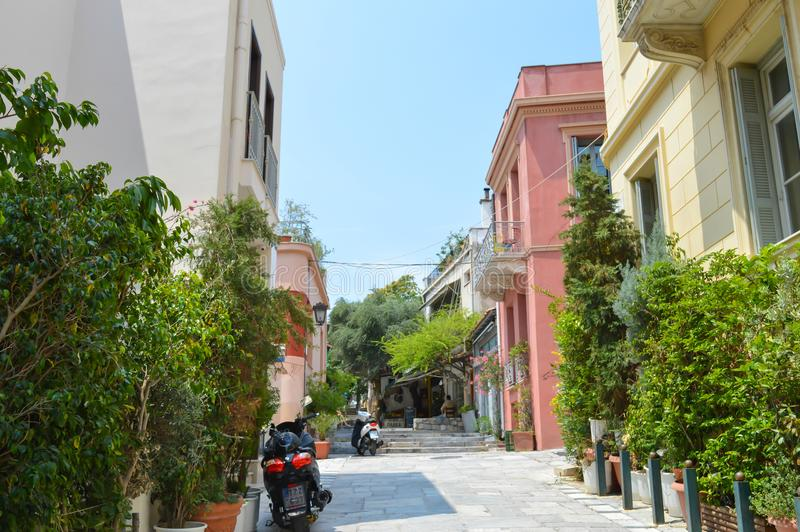 Placa Streets in Athens, Greece on June 16, 2017. ATHENS, GREECE - JUNE 16: Placa Streets in Athens, Greece on June 16, 2017 royalty free stock image