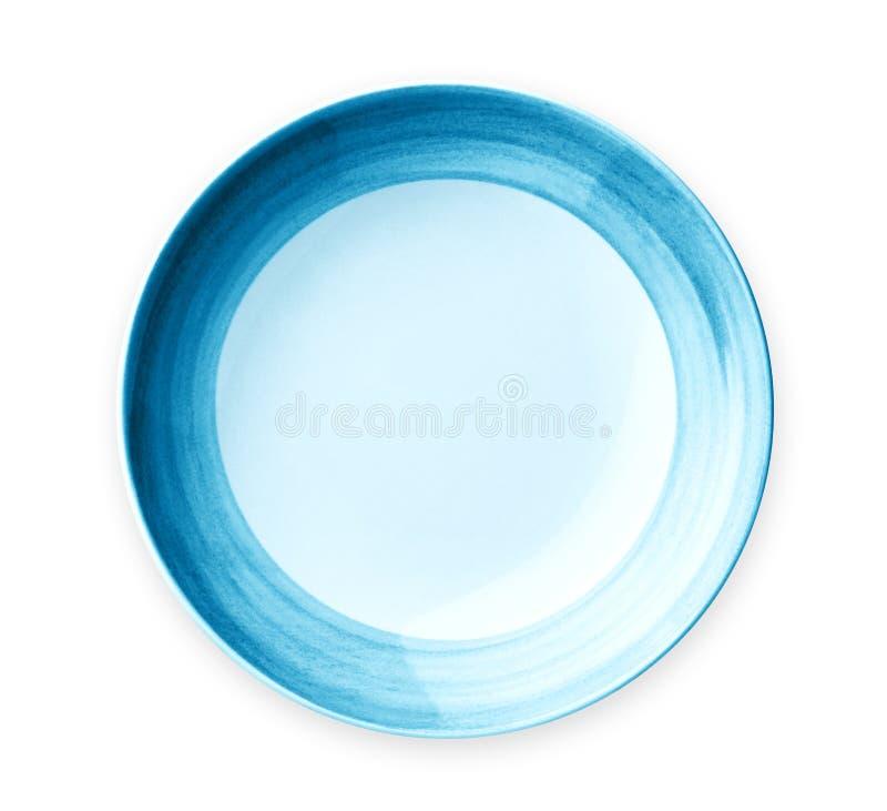 Placa vacía con el borde azul del modelo, placa de cerámica con el modelo espiral, aislado en el fondo blanco imágenes de archivo libres de regalías