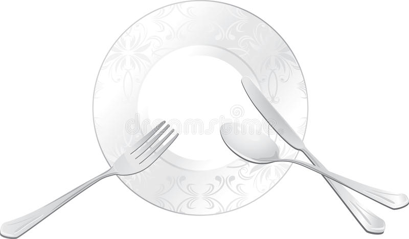 Placa vacía con la cuchara, la fork y el cuchillo ilustración del vector