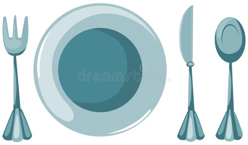 Placa vacía con la fork y cuchara y cuchillo stock de ilustración