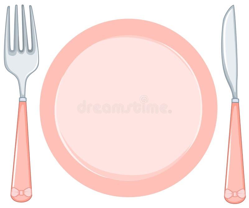 Placa vacía con la fork y el cuchillo ilustración del vector