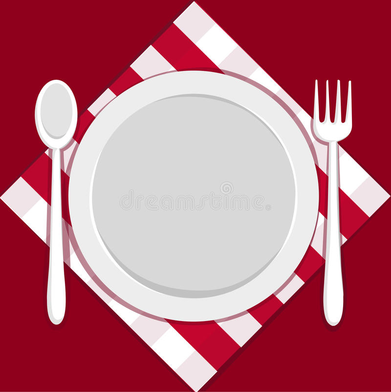 Placa vacía con la fork y la cuchara stock de ilustración