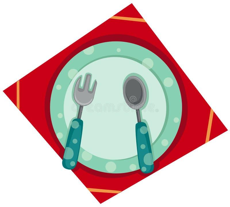 Placa vacía con la fork y la cuchara libre illustration