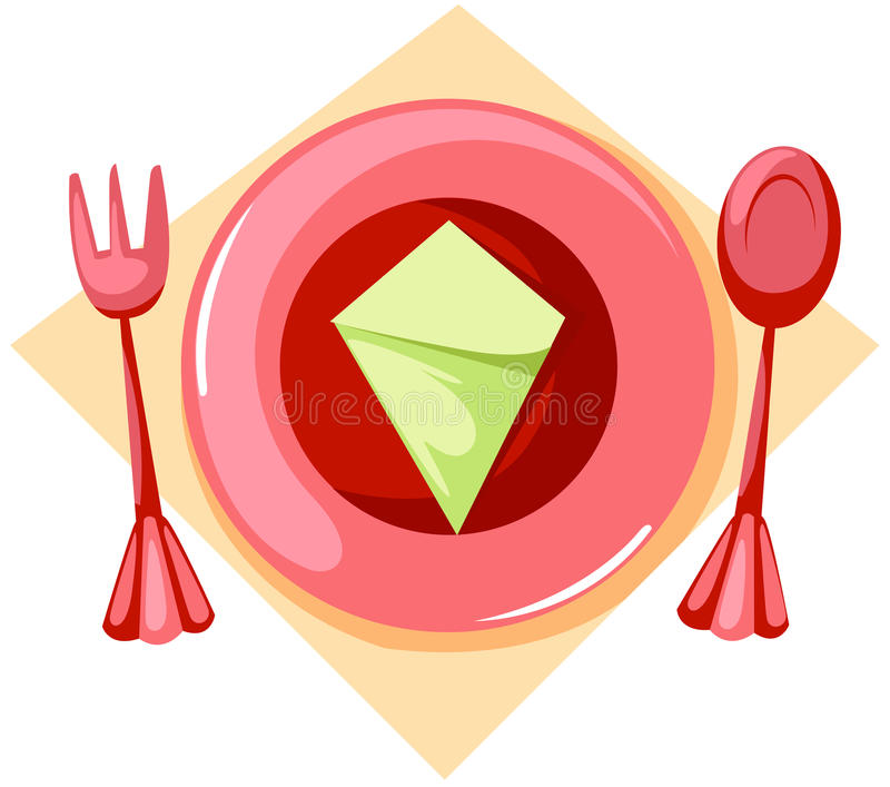 Placa vacía con la fork y la cuchara ilustración del vector