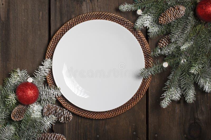 Placa vacía de la Navidad fotografía de archivo libre de regalías