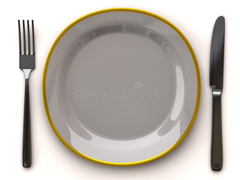 Placa vazia branca com forquilha e faca ilustração stock