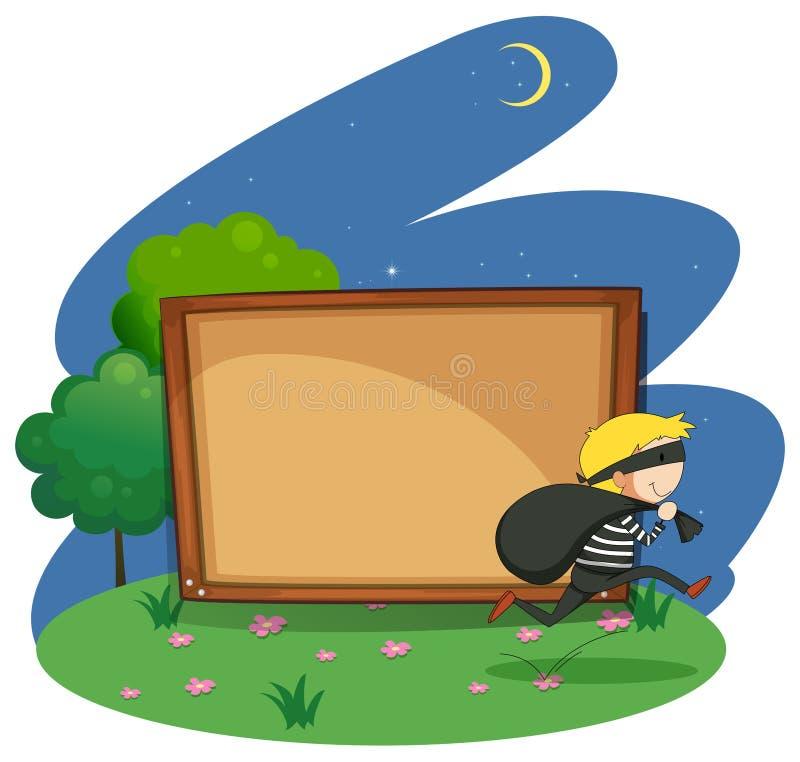 Placa vazia com projeto do ladrão ilustração royalty free