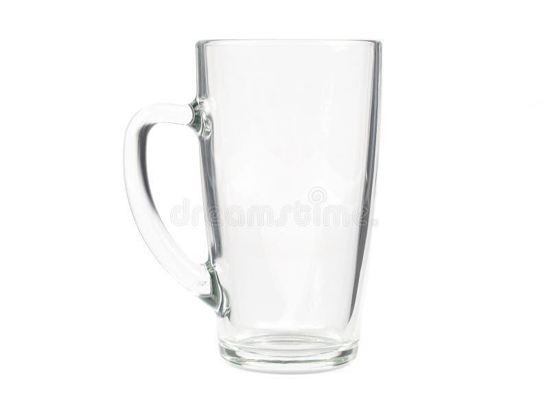Placa vazia da caneca de vidro para o café ou o chá isolado no backgr branco fotos de stock