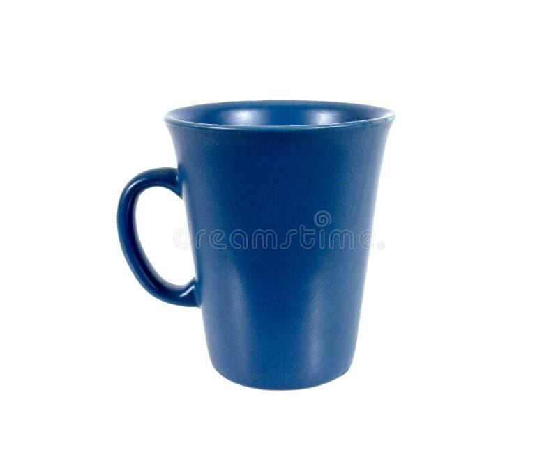 Placa vazia da caneca quadrada azul para o café ou o chá isolado no fundo branco imagem de stock
