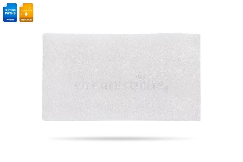 Placa vazia da espuma isolada no fundo branco Fundo sint?tico da textura Detalhe de material pl?stico Objeto dos trajetos de gram imagens de stock