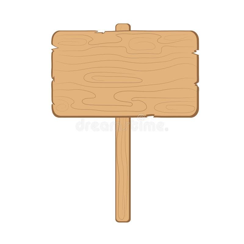 Placa vazia da informação de madeira na ilustração branca, conservada em estoque do vetor ilustração do vetor