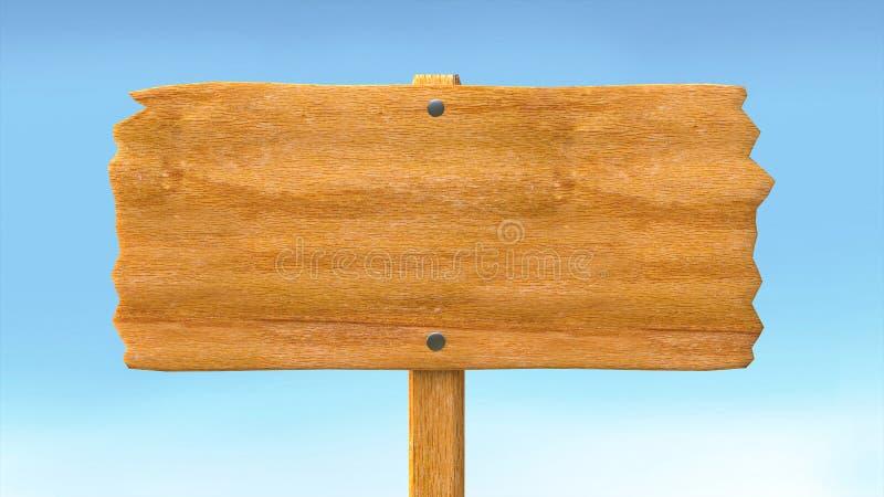 Placa vazia vazia de madeira do sinal e fundo do céu azul ilustração do vetor