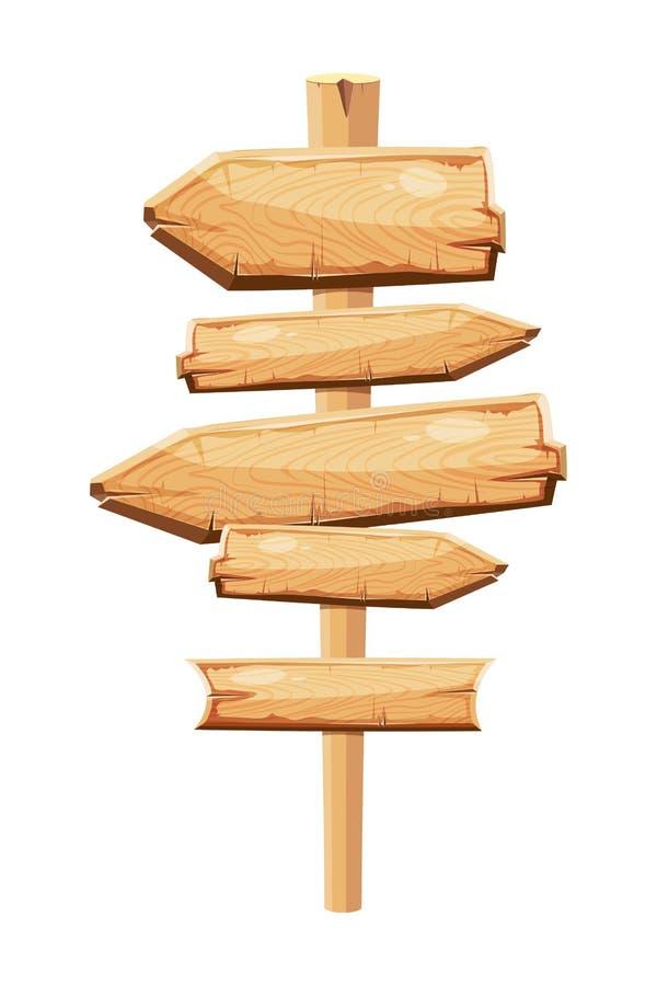 Placa vazia do sinal dos desenhos animados das pranchas de madeira velhas isolada no branco ilustração stock
