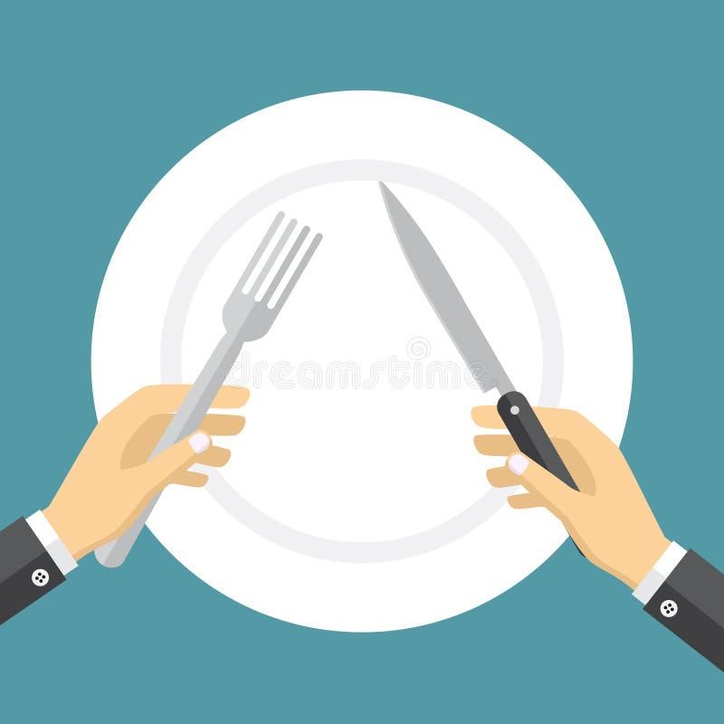 Placa vazia e mãos que guardam a faca e a forquilha ilustração royalty free