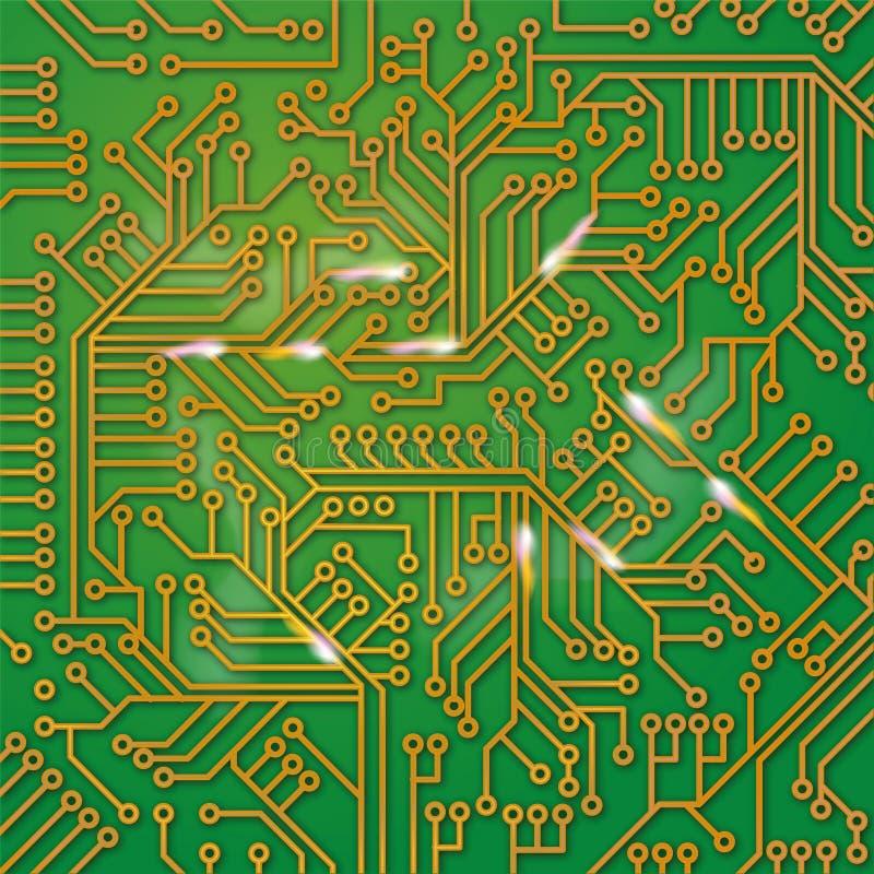 Placa verde do computador com fiação ilustração royalty free