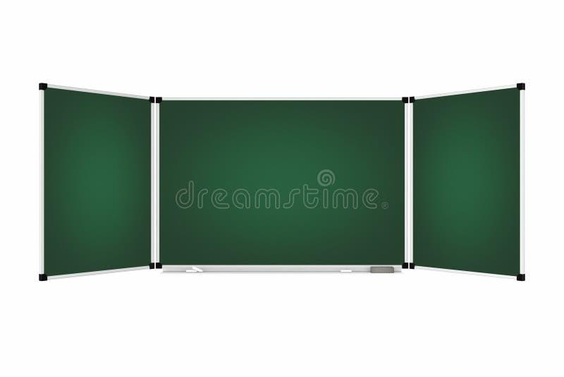 Placa verde três porções do quadro ou o quadro-negro com espaço livre ilustração stock
