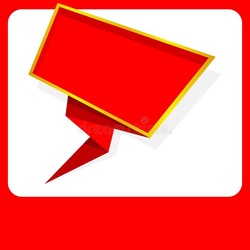 Placa vermelha da bandeira, estilo colocado liso da forma do molde da bandeira do quadro da cor vermelha, espa?o vazio da c?pia d ilustração royalty free