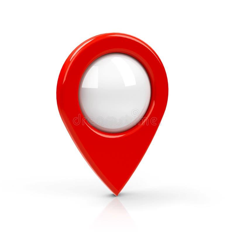 Placa vermelha do ponteiro do mapa ilustração stock