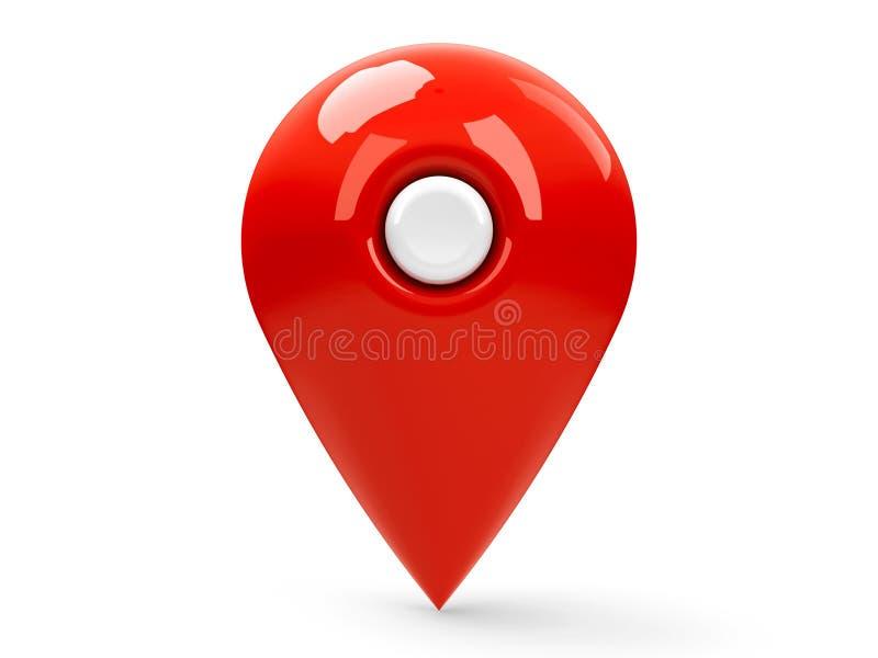 Placa vermelha 3 do ponteiro do mapa ilustração royalty free