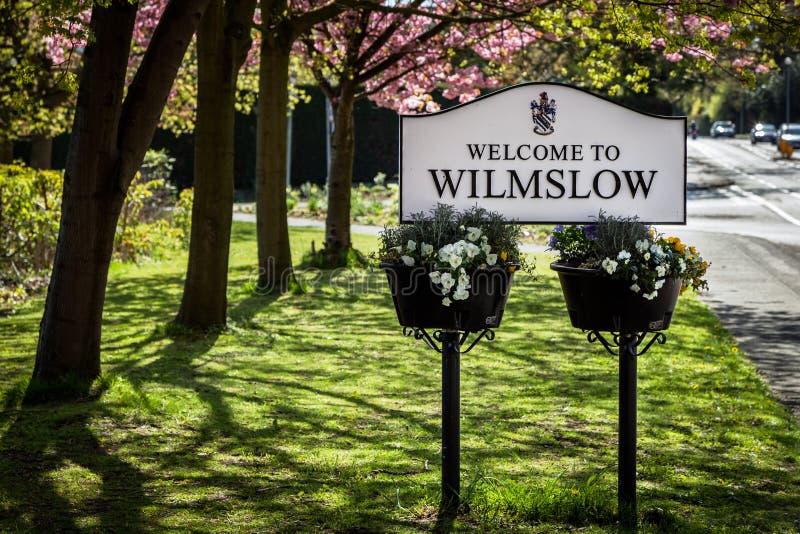 Placa Wilmslow do sinal imagem de stock