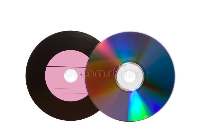 Placa y CD viejos del vinilo. El camino incluyó fotografía de archivo libre de regalías