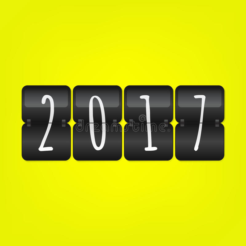 Placar 2017 do ano novo feliz Símbolo preto e branco amarelo da aleta do vetor ilustração stock