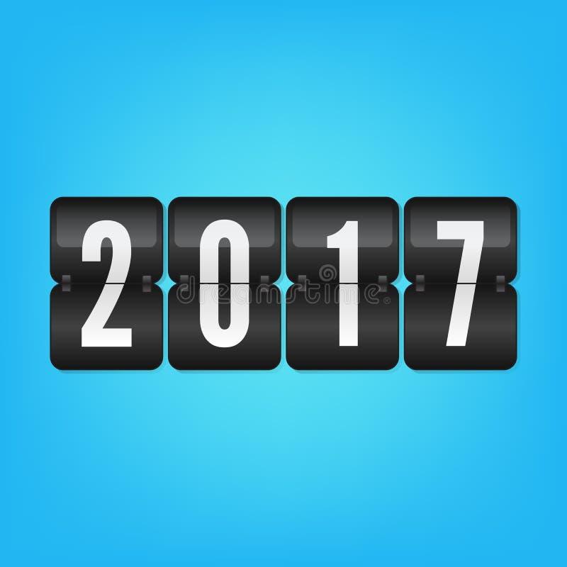 Placar 2017 do ano novo feliz Símbolo preto e branco azul da aleta do vetor ilustração royalty free
