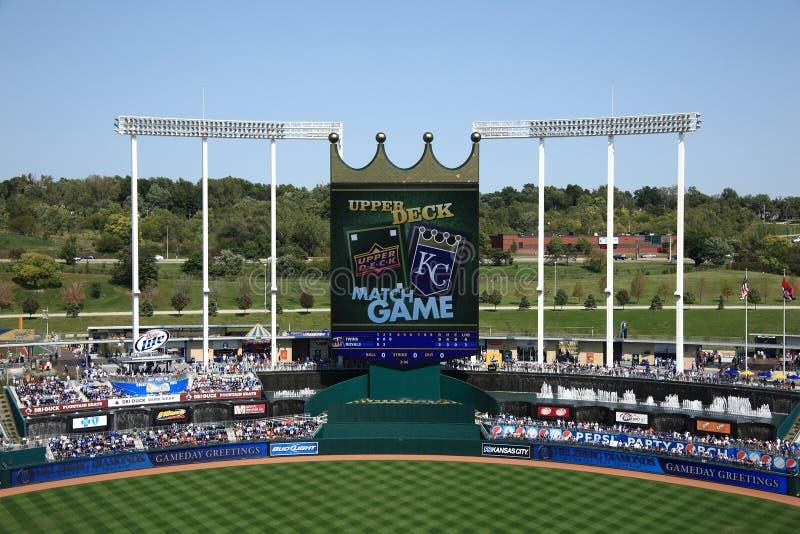 Placar do estádio de Kauffman - Kansas City Royals foto de stock