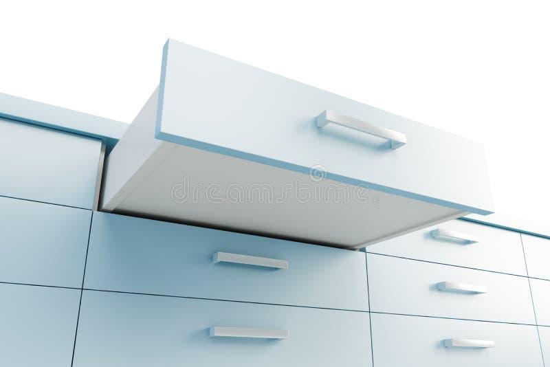 Placard avec le tiroir ouvert illustration libre de droits
