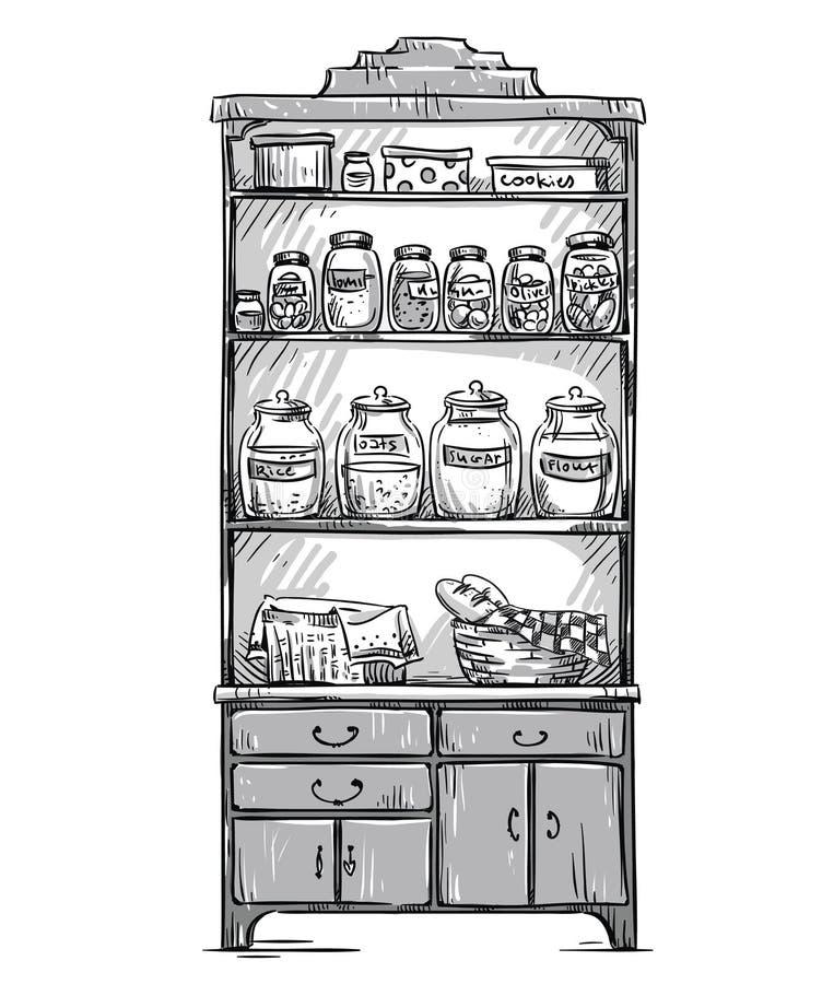 Placard de cuisine, étagères de cuisine, tirées par la main illustration libre de droits