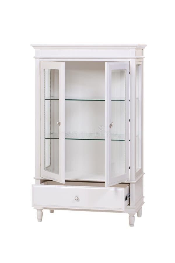 Placard en bois blanc avec des portes ouvertes d'isolement au-dessus du blanc photo stock