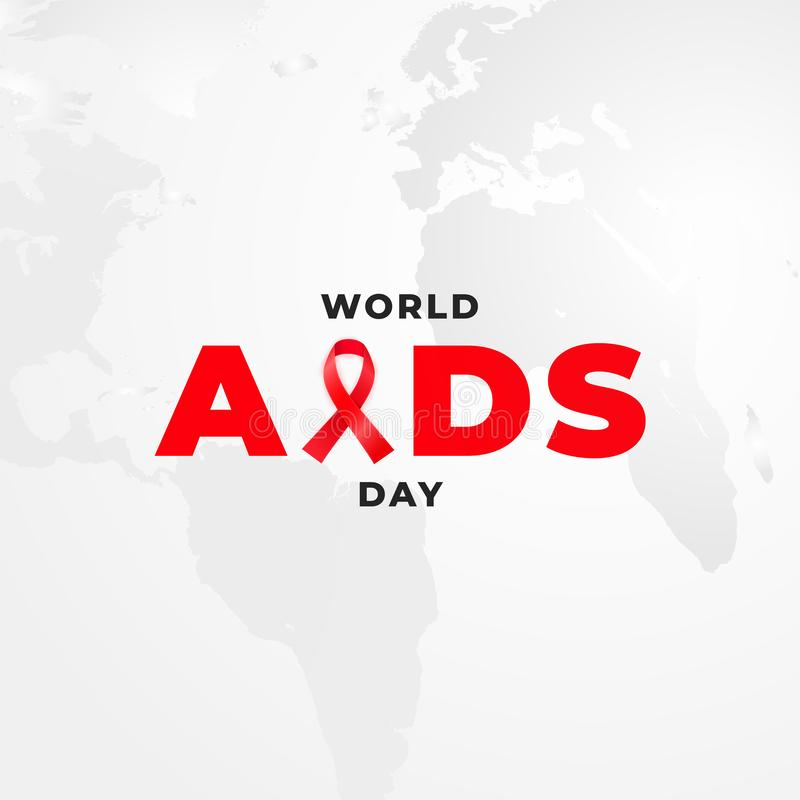 Placard for HIV alertness campaign. World AIDS Day poster design. Red awareness ribbon and worldmap on the background.  vector illustration