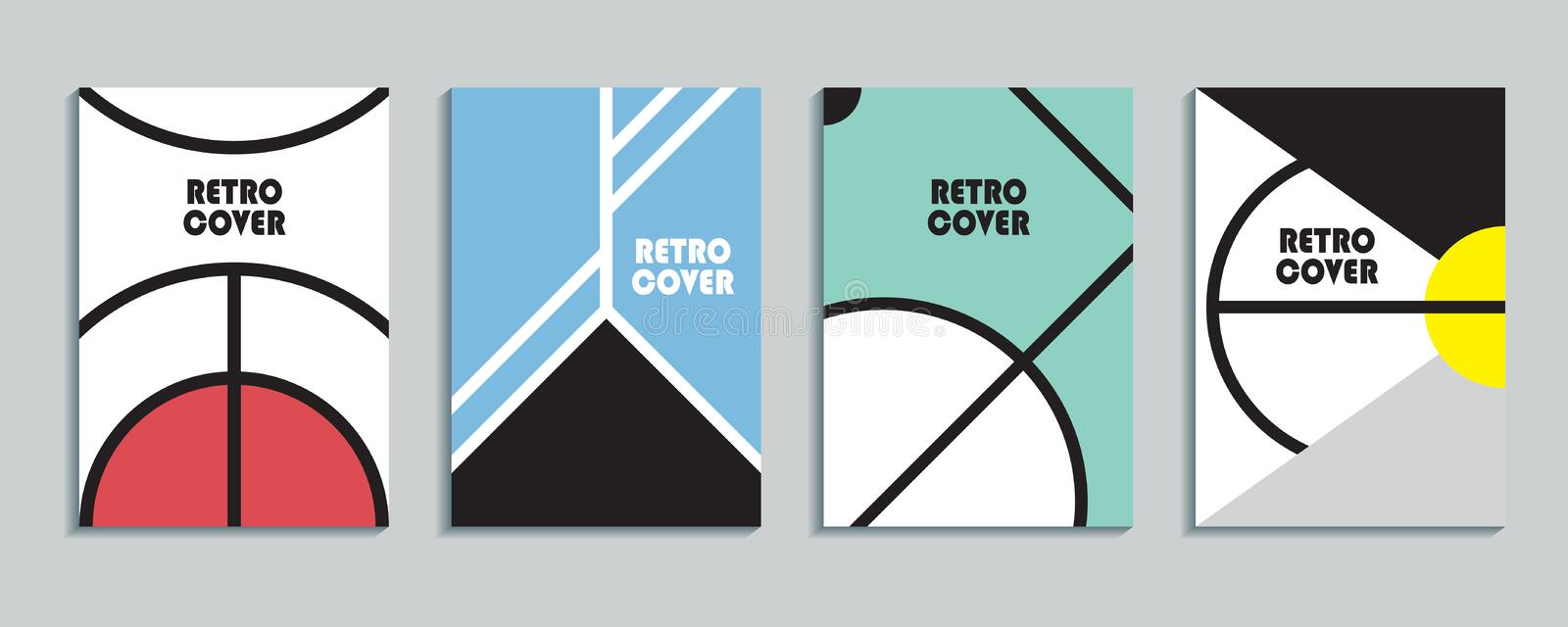 Placards With Abstract Liquid , 80s Design Elements  Retro
