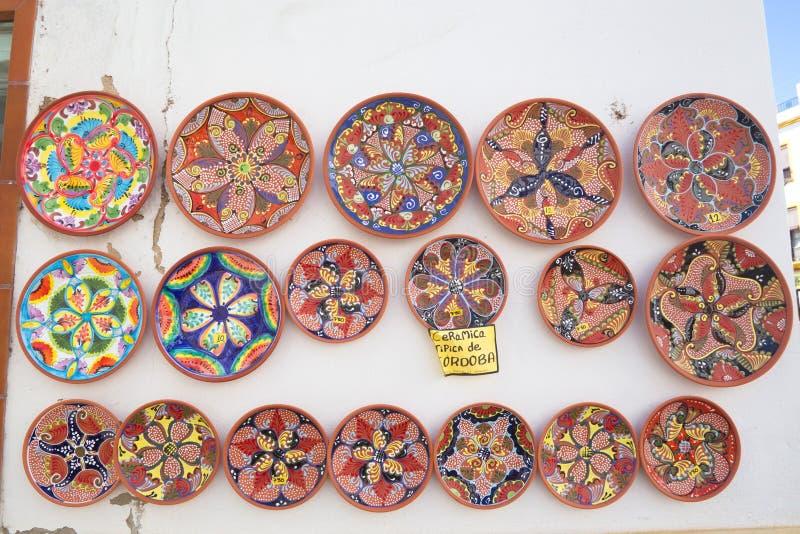 Placas cerâmicas na exposição em Córdova fotos de stock
